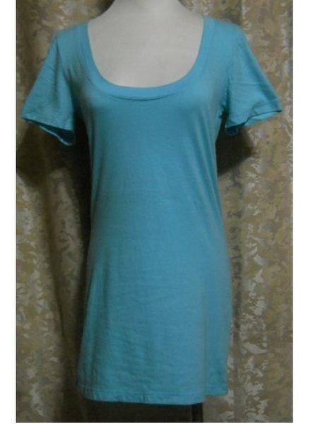 ~麗麗ㄉ大碼舖~大尺寸M(36吋)水藍色大圓領短袖彈性上衣~