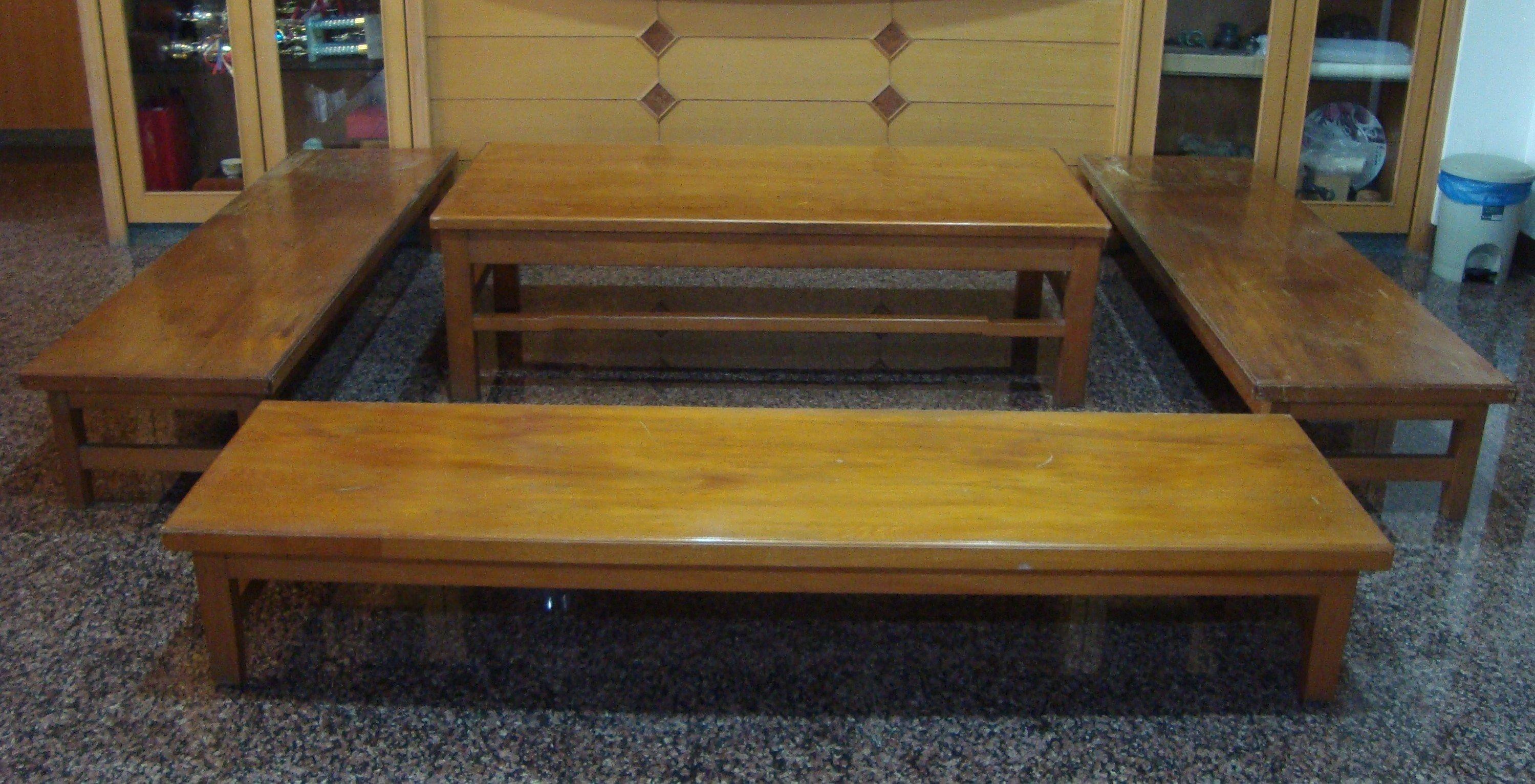 促銷價! 鳳尾紋路的早期台灣檜木泡茶長桌椅