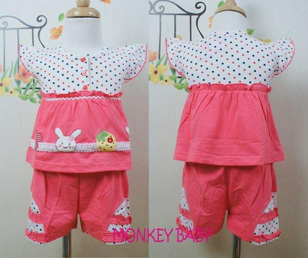 滿699免運【MONKEY BABY 】點點粉色兔子幼童套裝(2136)