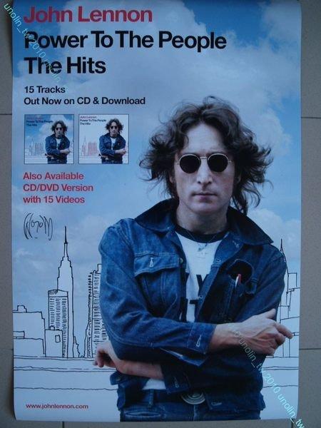 海報滿3張免運~約翰藍儂【平民力量:世紀 】英國天團披頭四 John Lennon 專輯宣傳~ 大直款 免競標