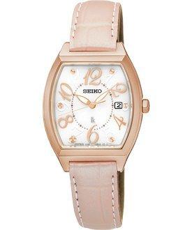 可議價.「1958 鐘錶城」SEIKO精工錶 LUKIA 太陽能酒桶腕錶/鱷魚皮錶帶/白面SUT290J1