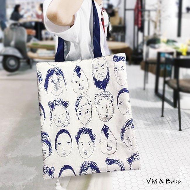 買啥玩意-日韓棉帆布袋 潮流 雙面 單肩 環保 袋 (漫畫頭像 青色)