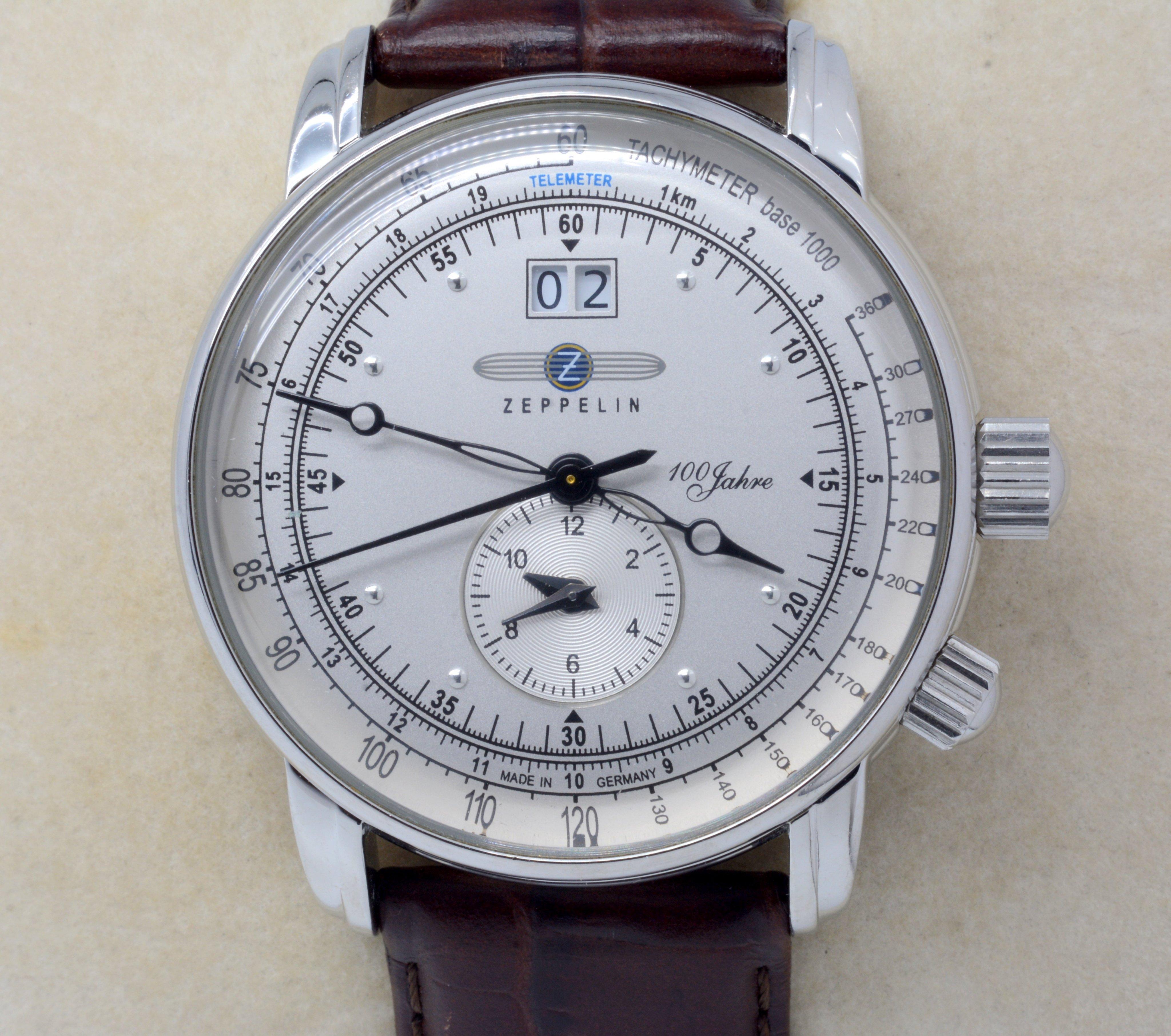 《寶萊精品》ZEPPELIN 齊柏林銀灰白男子錶