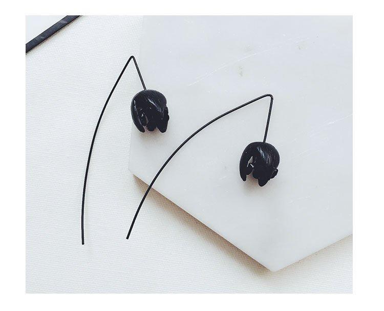 【小麼雜貨】素描哥德風黑色鬱金香花穿透式 耳線  耳環( ) A026 001下(782 960