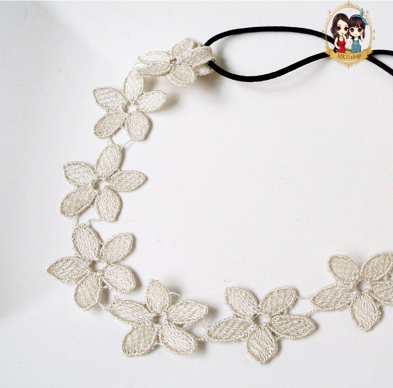 -精緻布蕾絲銀線勾織花朵鬆緊髮帶 髮飾
