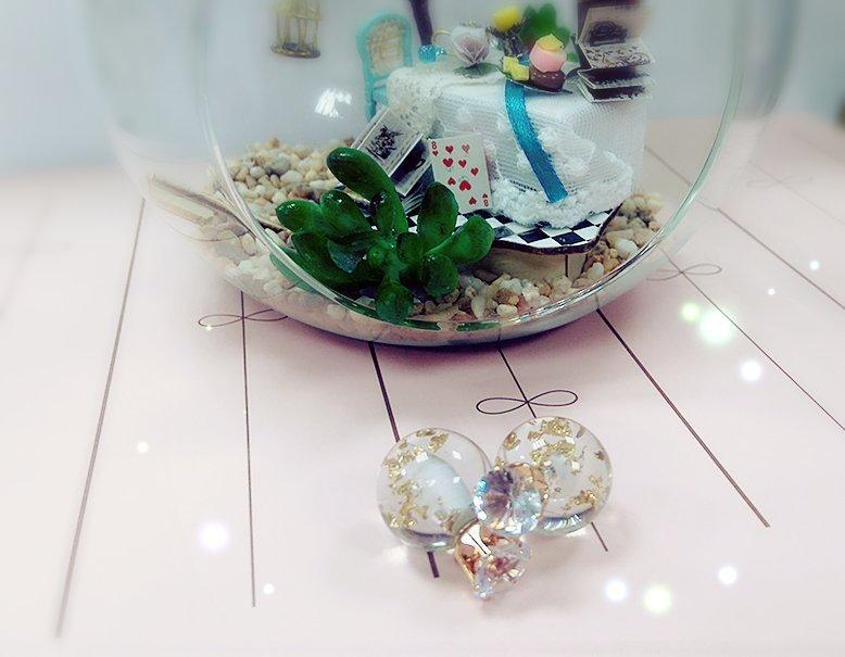 ☆Sweet Dream☆唯美清新氣質款水鑽皇冠透明金箔糖球2用耳環大力丸70元 韓國代購 滿399免