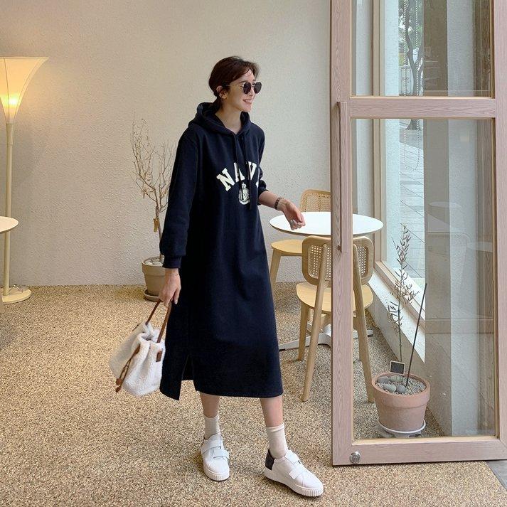 Bellee  正韓  NAVY連帽口袋刷毛棉質長洋裝 (2色) 【Z1106-87】