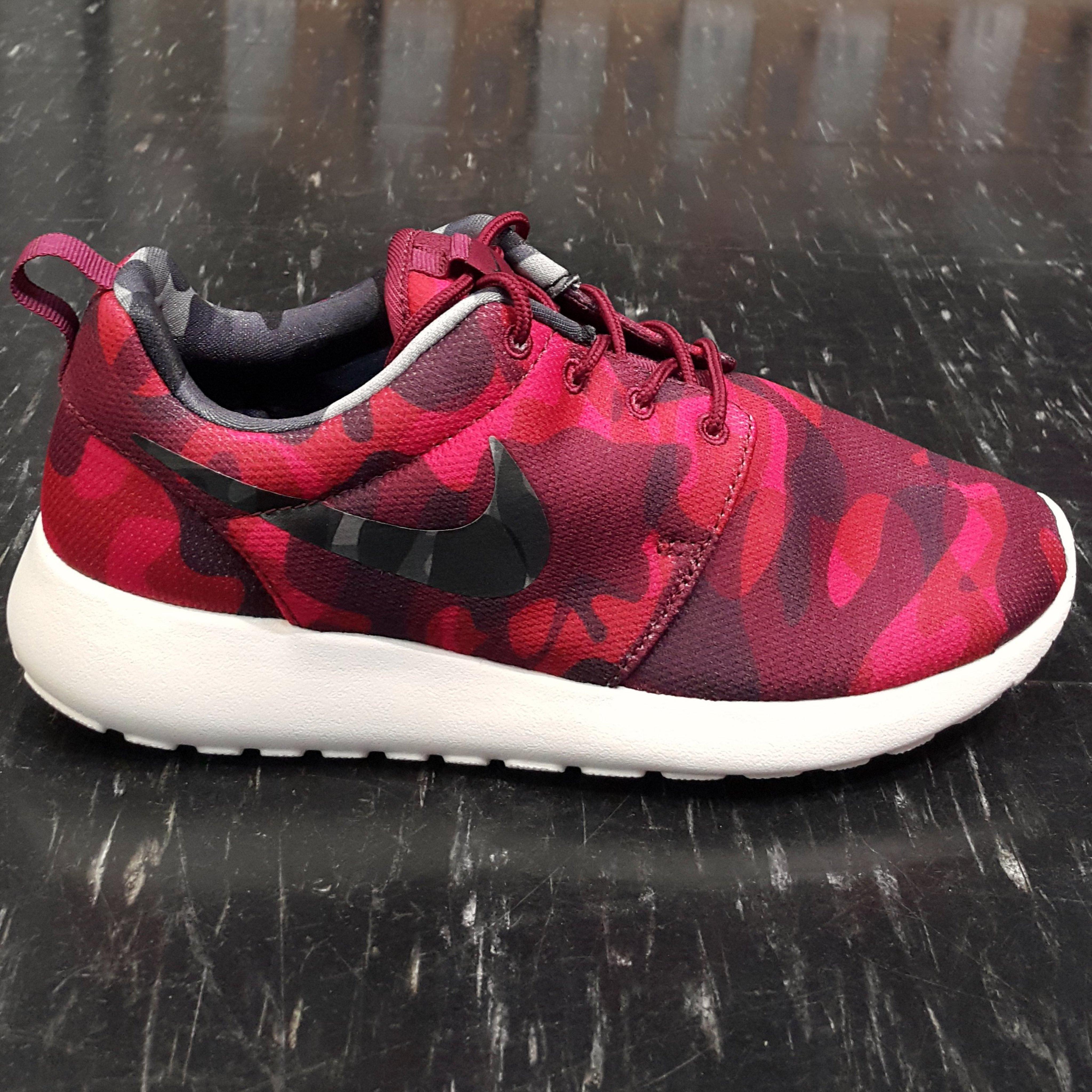 WMNS NIKE ROSHE ONE RUN PRINT 紅色 黑色 白色 迷彩 網布 599432-606 慢跑鞋
