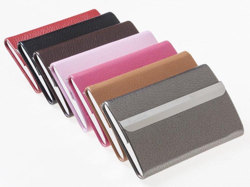 【幸福二次方】橫式荔枝皮不鏽鋼名片夾 信用卡包 名片夾 名片盒 卡夾 050# - 黑  玫紅