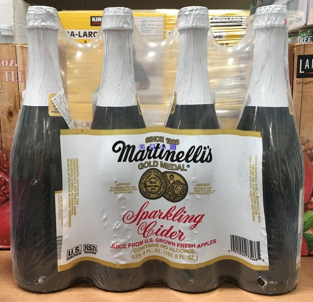 美兒小舖COSTCO好市多代購~Martinellis 美國進口 氣泡蘋果汁(750mlx4罐)