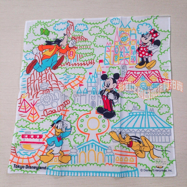 日版 東京迪士尼樂園 手帕 米奇 米妮 高飛 唐老鴨 約27*27公分 雜貨 懷舊復古 日用品 收藏