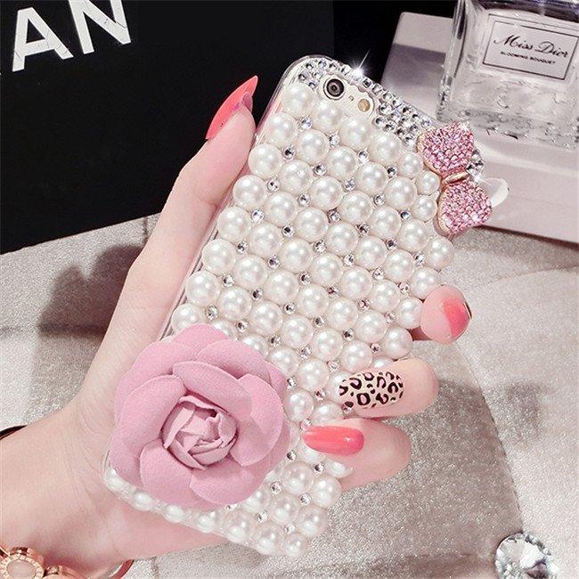 【小宇宙】HTC Desire 820/S 728 826 626 816 珍珠蝴蝶結花朵貼鑽手機殼 水鑽 透明殼