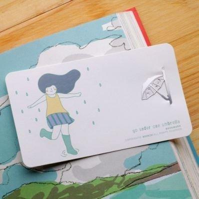 【象牙cute ta】韓國 Bookfriends girl s summer  _ rainy day  書的朋友書籤  下雨天
