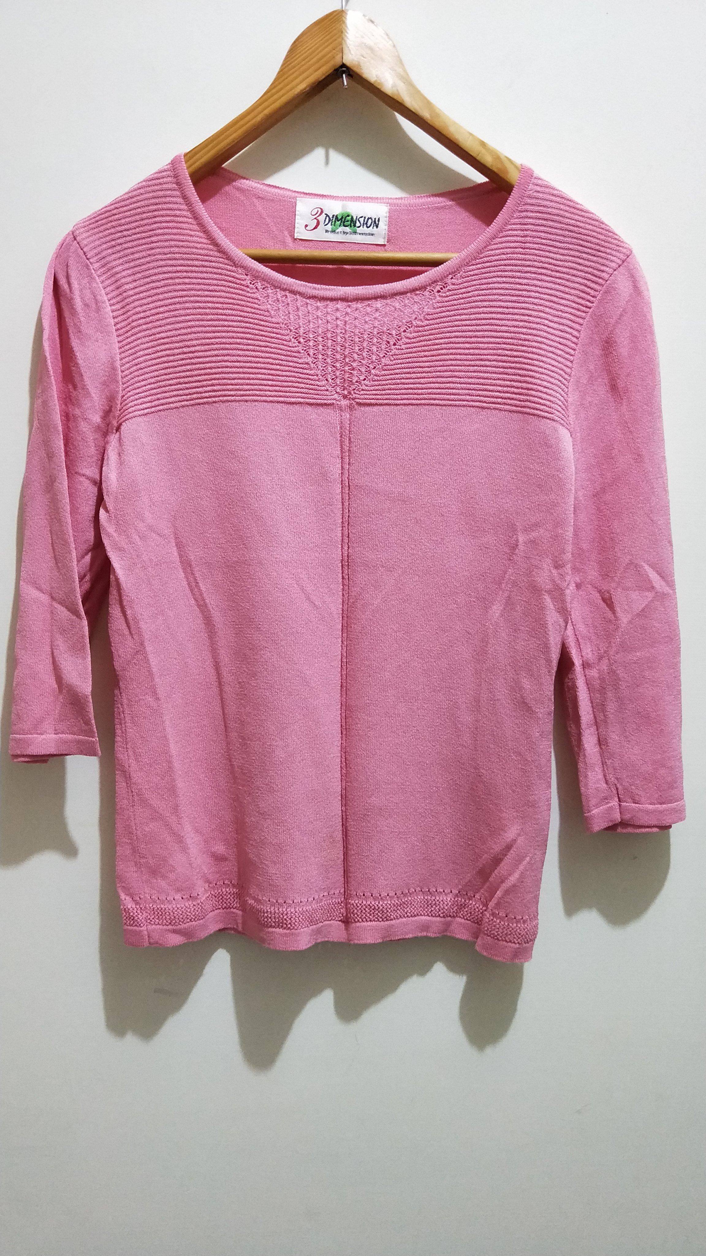 【 衣櫃】3DIMENSION 粉紅色波浪邊素色百搭針織上衣 修身顯瘦棉質長袖上衣 文藝清新氣質 舒適亞麻U領上衣