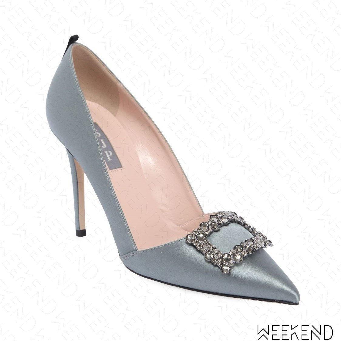 【WEEKEND】 Sarah Jessica Parker SJP Windsor 緞面 鑲鑽 高跟鞋 灰色