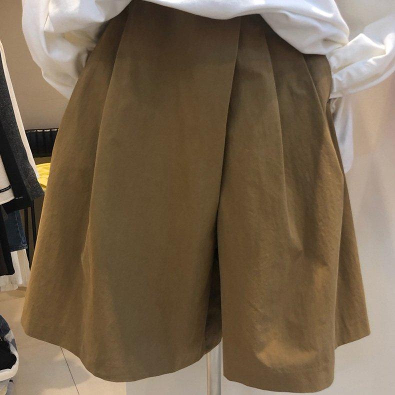 特價到4/16調回原價780短褲 春夏寬褲顯瘦寬褲短褲褲裙 設計款寬鬆不對稱闊腿褲  艾爾莎【TAE8410】
