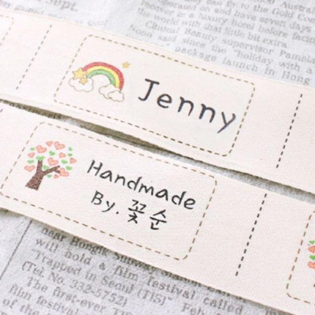 ♀高麗妹♀韓國 Funnyman Color Cotton Label 幼兒園姓名.短語....客製化手縫布標籤(預購)