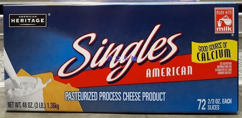 美兒小舖COSTCO好市多代購~AMERICAN 美國乾酪片(1.36kg/盒,約72片)適合三明治.漢堡