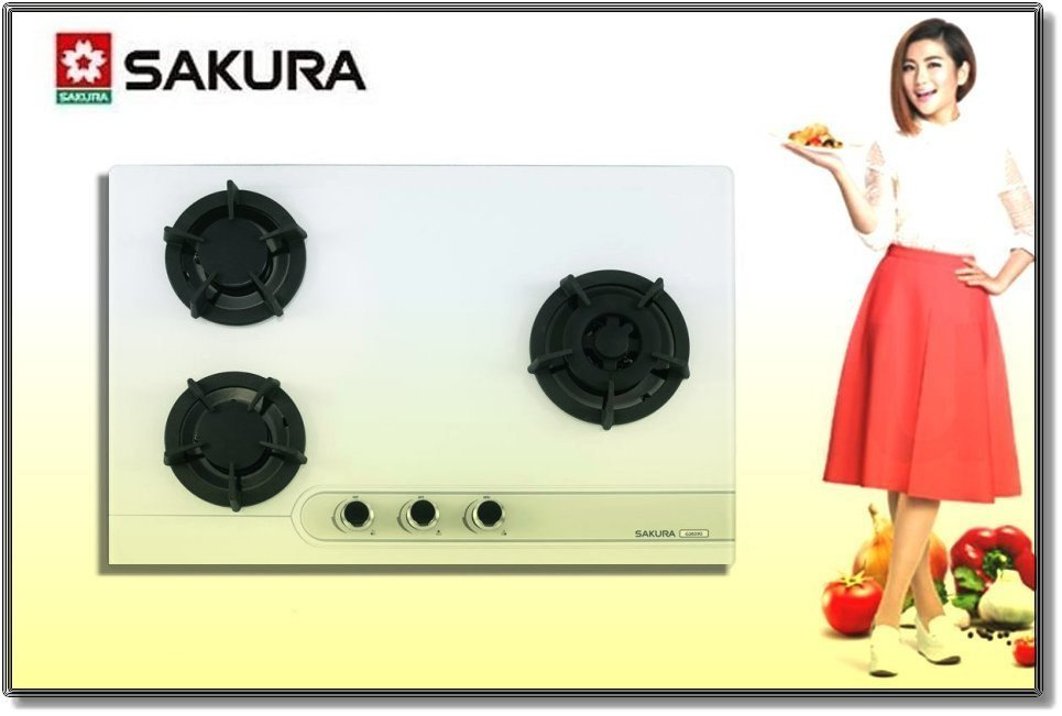 【 大尾鱸鰻 GO】櫻花牌 G2633G ☆三口檯面爐 大面板易清 ☆黑色 白色 強化玻璃 瓦斯爐
