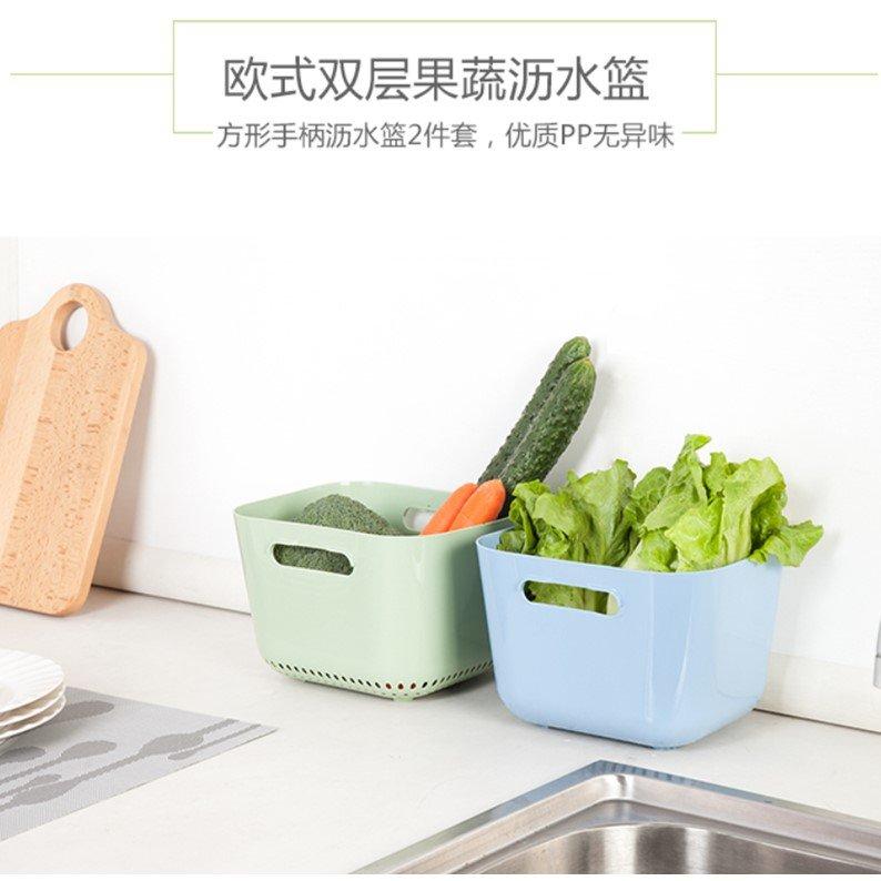 洗菜籃蔬果瀝水籃加高雙層清潔果蔬瀝水篩(任選1組)_☆優購好SoGood☆