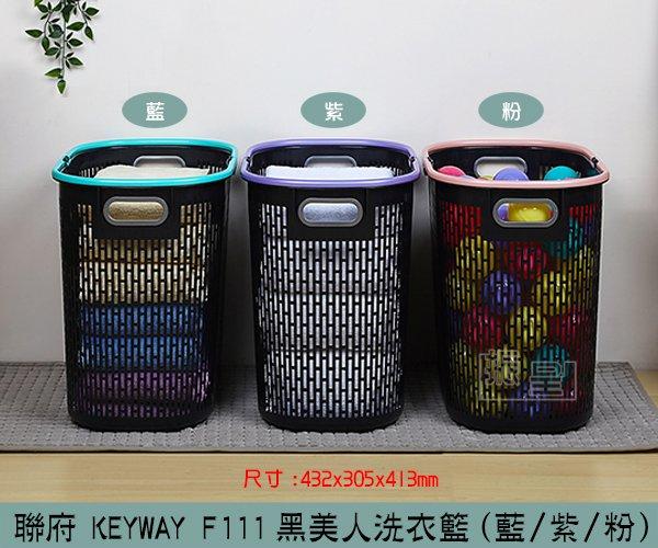 『振呈』 聯府KEYWAY F111(紫 藍 粉)黑美人洗衣籃 洗衣籃 置物籃 雙提把置物籃  製