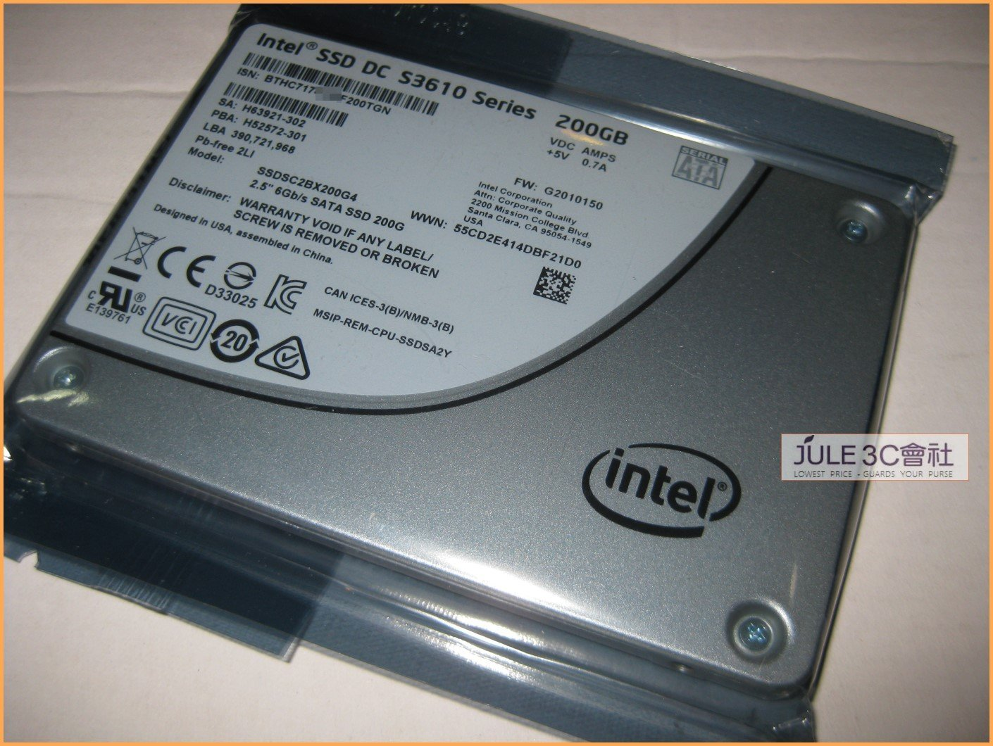 JULE 3C會社-INTEL SSD DC S3610 200GB 200G 企業級/全新/2.5/SATA 3 硬碟