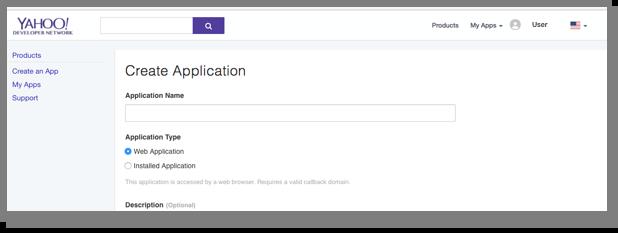 The Create an App button