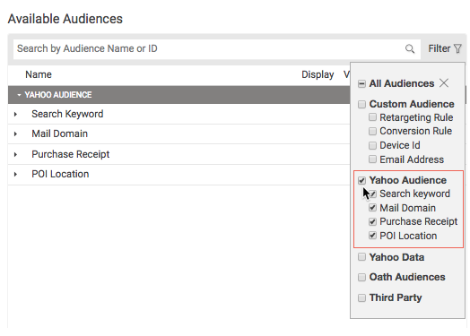 audience-filter-drop-down-list