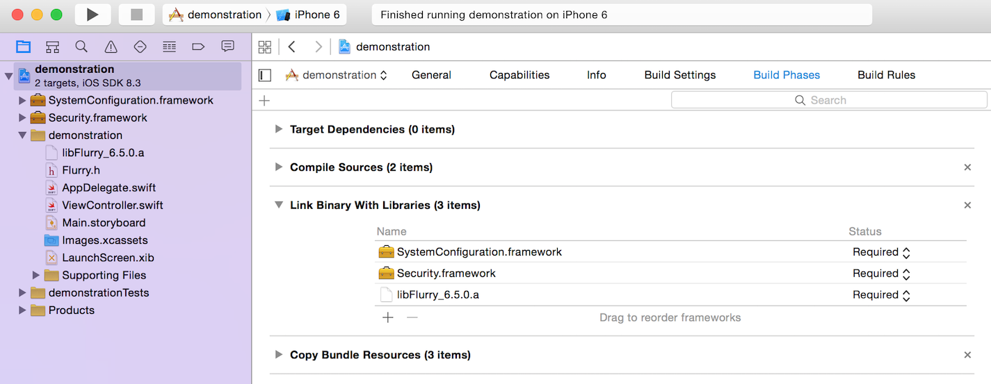 frameworks added