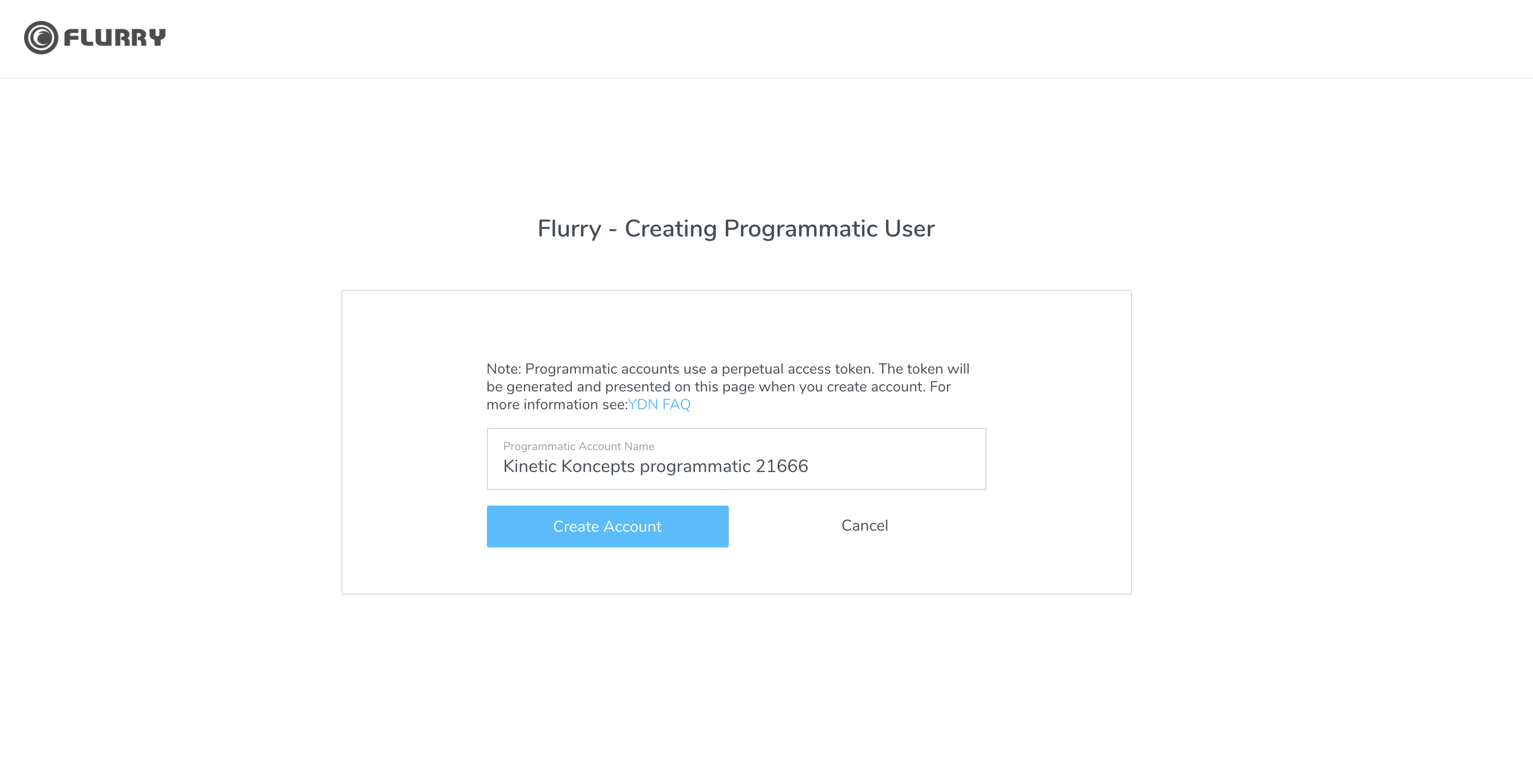 create programmatic user