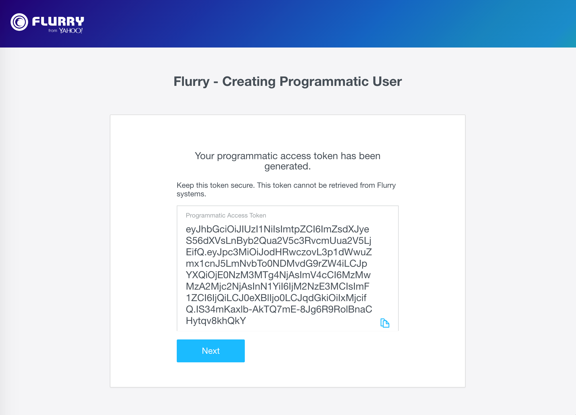created programmatic token