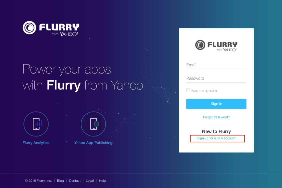 sign up flurry