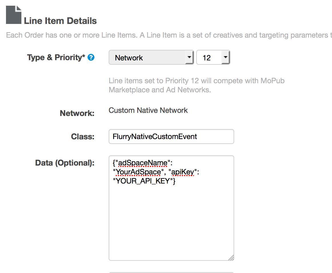 MoPub line item configuration
