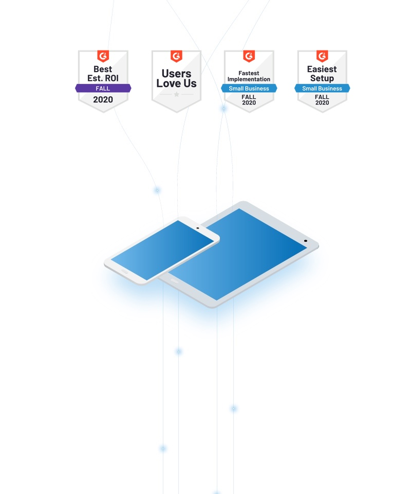 Conceptual image of data flowing into devices with G2 medals