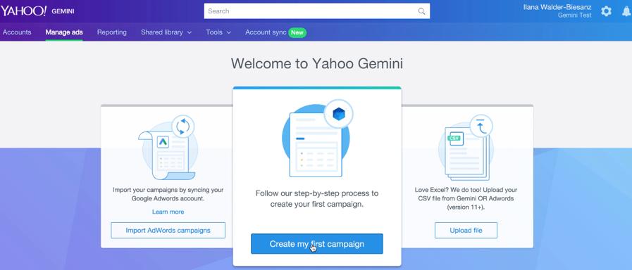 main page create campaign