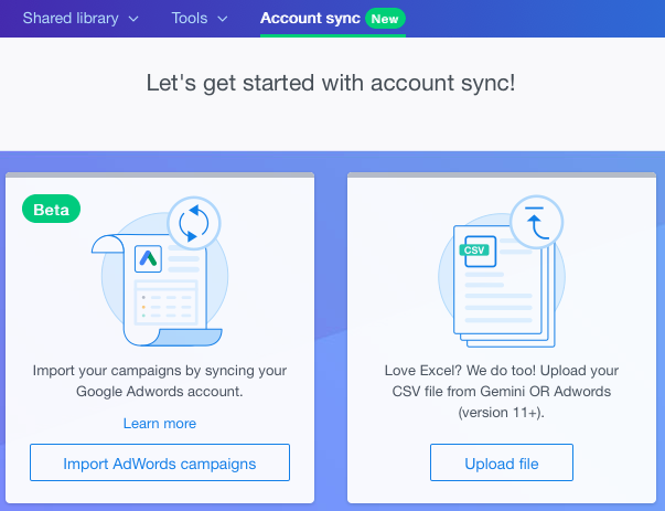 get started account sync