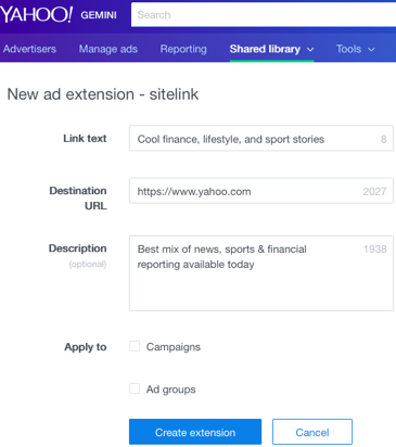 new ad extension fields filled in