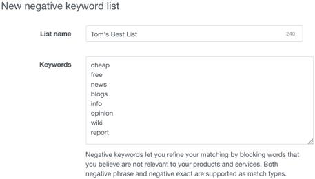 negative keywords excluded words