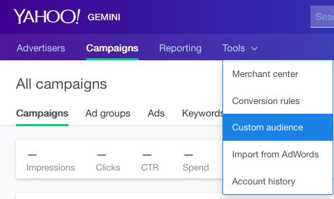 select custom audience tools list