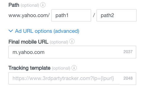 url options advanced
