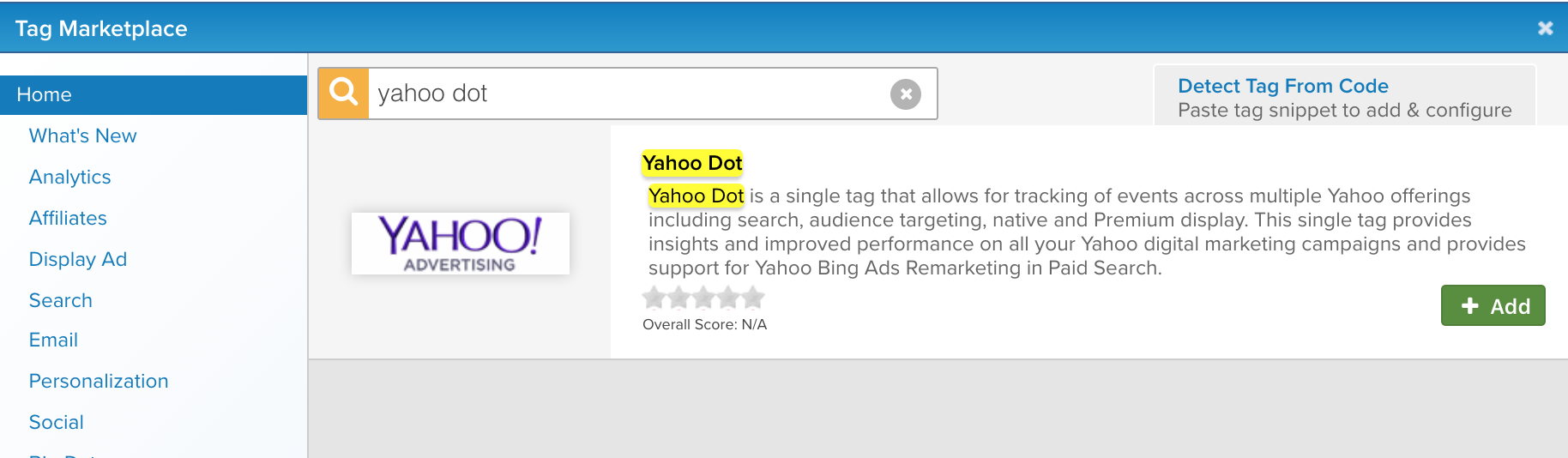 add yahoo dot