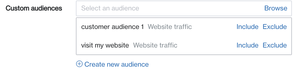 custom audiences to browse
