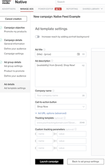 ad template settings