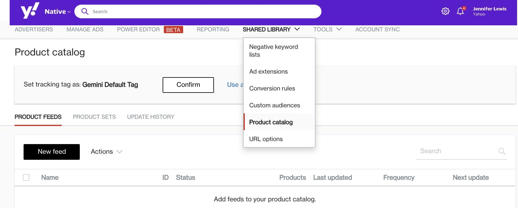 product catalog dropdown