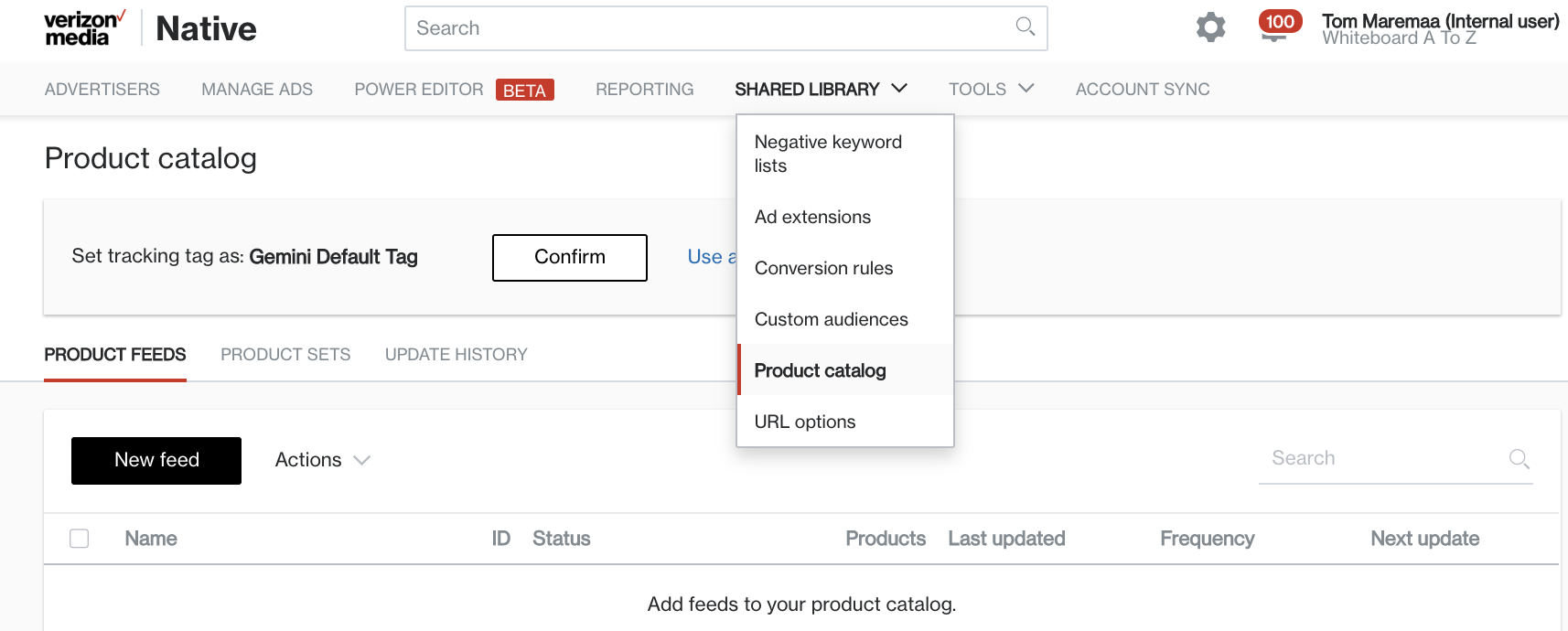 product catalog dropdown