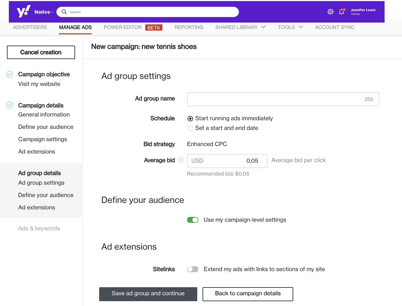 enter adgroup settings