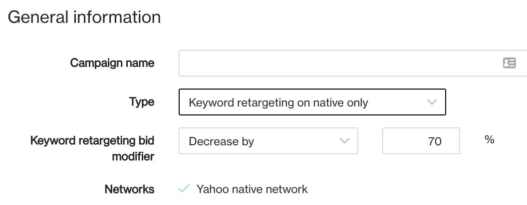bid modifier keyword retarget
