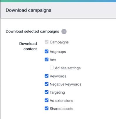 ad groups download bulk menu option