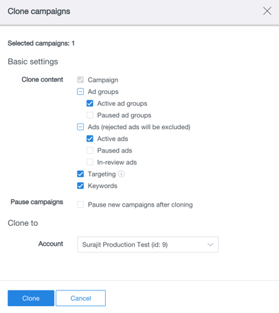 select campaigns to clone