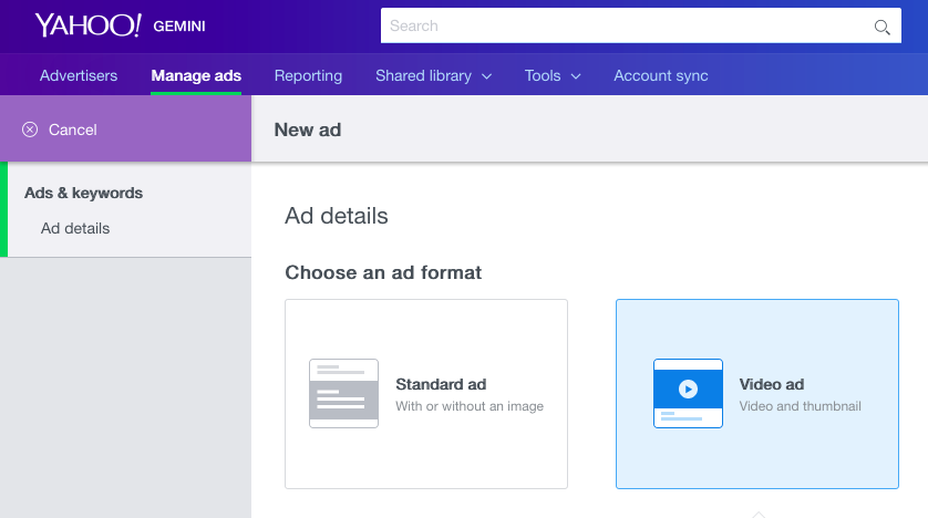 select ad format